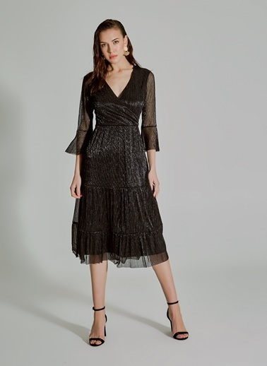 People By Fabrika Kruvaze Parlak Elbise Siyah